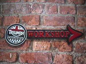 Cast Iron triumph workshop arrow sign