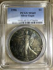 MONSTER TONED BLUE GOLD FIRST YEAR! Silver Eagle PCGS MS-65