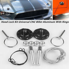 Car Truck Hood Pin Appearance Kit Universal CNC Billet Aluminum With Rings G2M7