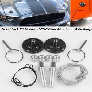Car Truck Hood Pin Appearance Kit Universal CNC Billet Aluminum With Rings G2M7