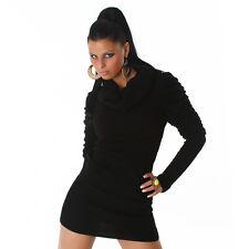 Long  MiniKleid STRICKKLEID Pullover Strick KLEID  Rollkragen Schwarz 34 36 38