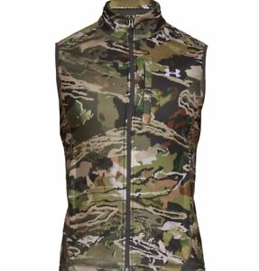 Under Armour Cold Gear Hunting Zephyr Fleece Vest Forest Camo LARGE 1316864-940