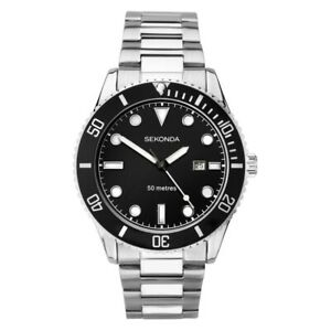 Silver Gents Sports Watch Black Dial 50M - SK1788