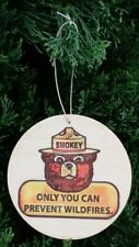 "(3) SET OF 3 ASPEN WOOD ORNAMENTS (3"" DIAMETER) ONLY YOU SMOKEY BEAR RUSTIC"