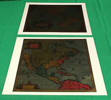 Vintage Set of 2 Antique Historical Maps Color Foil Etch Process Reproductions