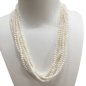 Elegant Six Strands 3-4mm Oval White freshwater pearl necklace 50cm Good Luster