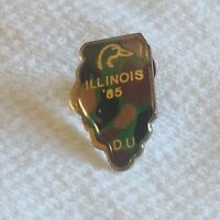Vtg Ducks Unlimited DU Illinois Tie Tac Pin 1985 Hunting Camouflage Lapel