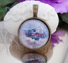 Ketten Anhänger Eisenbahn Zug Winter - Glas Cabochon 25 mm  -  Amulett bronce