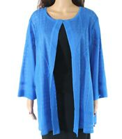 Ming Wang Womens Textured Blue Size 3X Plus Open-Front Knit Jacket $295 730