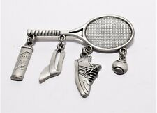 Vintage Silver Tone Tennis Racket Dangling Charms Brooch/Broach Janette Jewelry