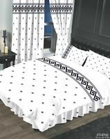 TRADITIONAL ATHENS WHITE & BLACK CLASSIC GREEK KEY DUVET COVER SET OR CURTAINS