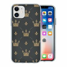 For Apple iPhone 11 Silicone Case Bling Black Gold Vintage Crown - S647