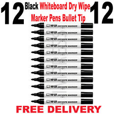 12 X Dry Wipe Black Bullet Tip Premium Marker Pens White Board Drywipe Markers