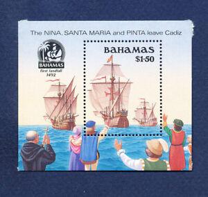 BAHAMAS - Scott 692 - FVF MNH S/S - Columbus discovers America - 1990