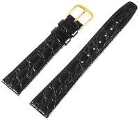 Echt-Leder Uhren Armband Schwarz Gold 17 mm Dornschließe Ersatzband X8000025170