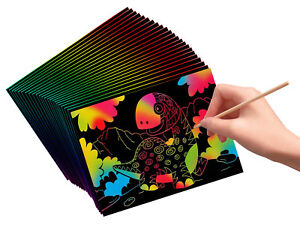 VHALE 30 Scratch Art Rainbow Paper Scratchboard for Kids Craft Drawing Writing