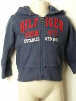 BOYS TOMMY HILFIGER AGE 9-12 MONTHS BLUE RED HOODED ZIP UP SWEATSHIRT JUMPER
