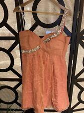 BNWT Forever New Celeste Silk Dress Coral Glow Size 14