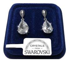 Orecchini Goccia donna pl. oro bianco 18K con cristalli swarovski SW/15g
