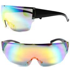 Party Rave Costume Wrap Around Shield Futuristic Color Mirrored Lens Sunglasses