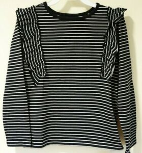 Brand New Tea Collection Jet Black Striped Ruffle Flutter Top Size 10