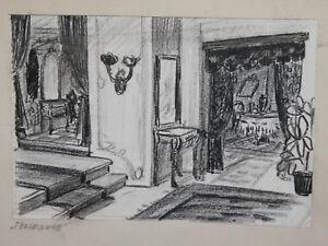 Vintage Pastel Painting Theatre Scene Design signed