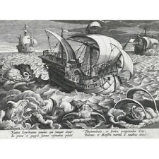 Collaert Sea Monsters Around A Ship Engraving Canvas Wall Art Print Poster