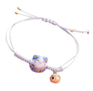 Feng Shui Lucky Ceramics Cat Maneki Neko Fortune Good Luck Wealth Blue Bracelet