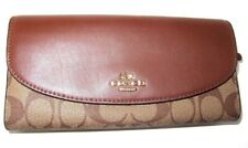 Coach Signature Slim Envelope Wallet Saddle & Khaki Signature F54022 NWT $250