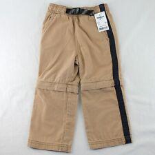 OshKosh Convertible Pants Toddler Boys 2T Tan Elastic Waist Zip Off Leg Shorts