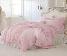 Simply Shabby Chic 3 PIECE Pink Ruffled King Size Duvet Cover Set Cottage NEW