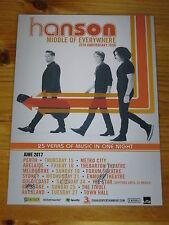 Hanson - 2017 Tour Poster - Australia Tour SIGNED AUTOGRAPHED Promo  Poster