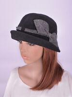M411 Black Cute Bow Roll Brim Women's Wool Acrylic Winter Cloche Hat Bucket Cap