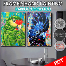 Parrot Cockatoo Canvas print with Hand Paint Wall Art Home Decor Framed 70*50