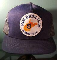 Vintage Soles Electric Inc. Fairmont WV Blue Patch Mesh Trucker Cap Hat