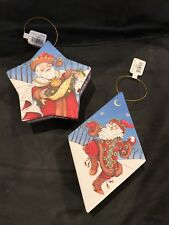 Mary Engelbreit Christmas Hanging Ornament Gift Boxes Set of 2 - New