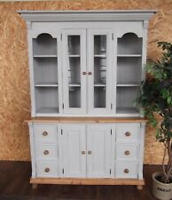 Large Pine Farmhouse Welsh Dresser Display Cabinet Paris Grey Shabby Chic