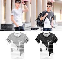 Casual Summer Men Tops Pullover Short Sleeve O-neck Star Milk Print T-shirt