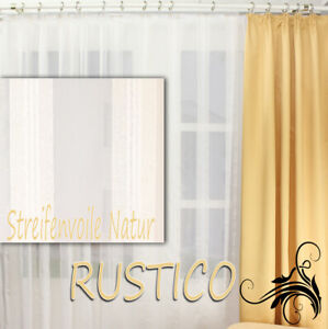 Hochwertige Gardine Fertiggardinen Streifen Voile Store Vorhang nach Maß RUSTICO