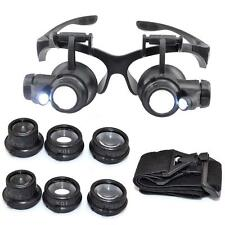 10x15x20x25x Double Eye Jewelry Watch Repair Magnifier Loupe Glasses LED Light