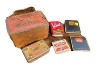 Tin Lot Vintage Union Leader Tobacco Lunch Box Pail Between Acts Little Cigars
