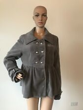 Dereon by Beyonce Gray Wool Blend Coat Jacket Double Breasted Etched Buckles XL