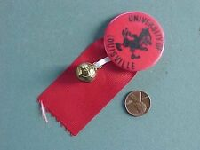 vintage LOUISVILLE Cardinals pin button with ribbons & brass basketball charm