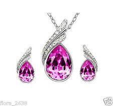Belle parure argenté, cristal rose, Collier, Boucles d'oreilles bijoux fantaisie
