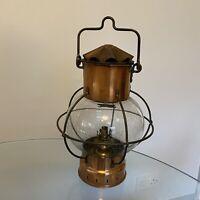 Antique Ships Lamp Boat Lantern Oil Lamp German Globe Copper Kosmos Brenner Old