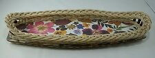 Vintage Retro Melamine snack drinks tray woven beaded edges Floral motif graphic