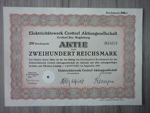 Aktie, Elektricitätswerk Crottorf AG Magdeburg 1937 (Art.3178)