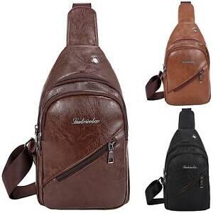 Adult Chest Bag PU Leather Shoulder Backpack Sling Cross Body Satchel Travel..