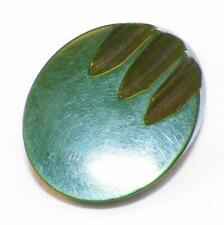 Spinach Green Bakelite Button Oval Grooves Vintage Coat Jacket Large #7 Beauty
