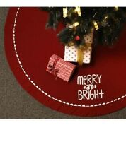 "New Lovely Holiday Living 56"" Beauty Red Christmas Tree Skirt Merry & Bright"